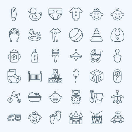 Line Baby Child and Toys Icons Set. Set of Modern Thin Outline Childhood Boy and Girl Items.