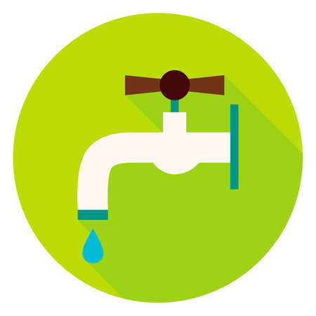 plumb: Water Tap Circle Icon. Flat Design Illustration with Long Shadow. Watering Tool Symbol.