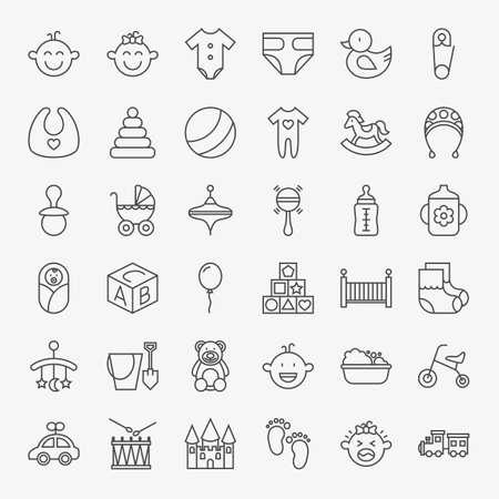 Baby Line Art Design Icons Big Set. Set of Modern Thin Outline Child Toys Symbols.