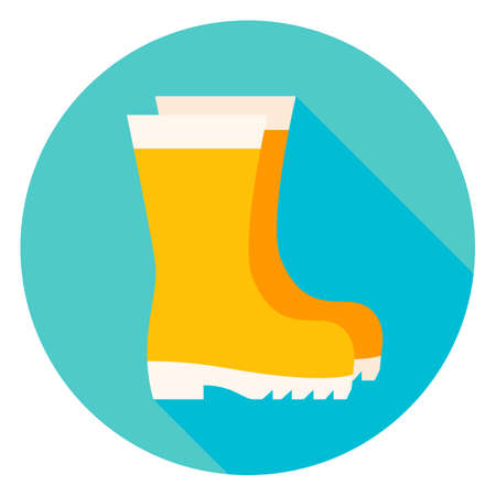 wellies: Garden Boots Circle Icon. Flat Design Illustration with Long Shadow. Shoes Gardening Clothes Symbol. Illustration