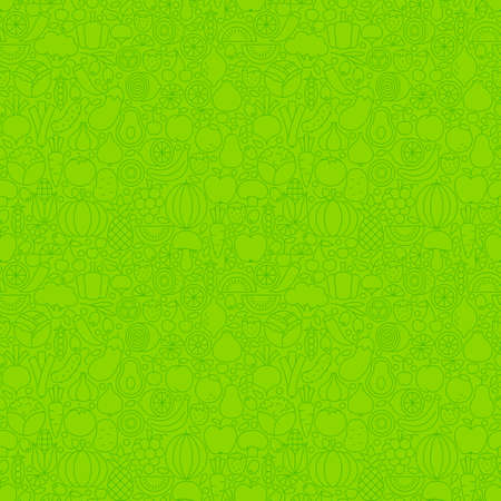 Green Thin Line Fruits Vegetables Seamless Pattern. Vector Website Design and Tile Background in Trendy Modern Outline Style. Fresh Healthy Vegan Food.