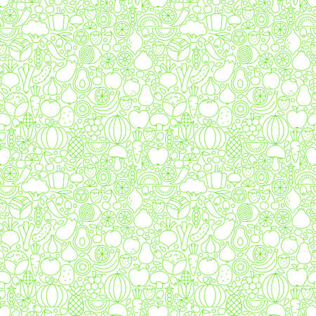 Thin Line Fresh Fruits Vegetables White Seamless Pattern. Vector Website Design and Tile Background in Trendy Modern Outline Style. Healthy Vegetarian Food.
