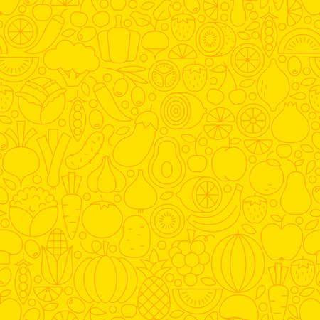 薄い黄色の果実野菜ライン シームレス パターンです。ベクトルのウェブサイトのデザインと流行のモダンなアウトライン スタイルのタイルの背景