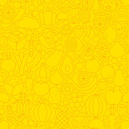 Thin Yellow Fruits Vegetables Line Seamless Pattern. Vector Website Design and Tile Background in Trendy Modern Outline Style. Fresh Healthy Vegan Food.