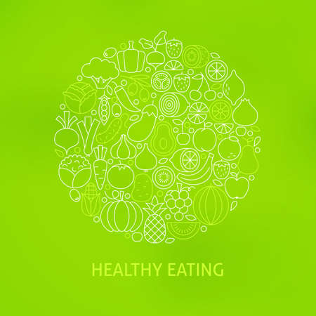 Thin Line Healthy Eating Icons Set Circle Concept. Vector Illustration of Fresh Vegan Fruits and Vegetables Outline Objects over Green Blurred Background.