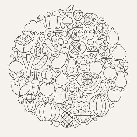 objects: Fruit and Vegetable Line Icons Set Circle Shape. Vector Illustration of Modern Fresh Healthy Vegetarian Food Outline Objects. Illustration