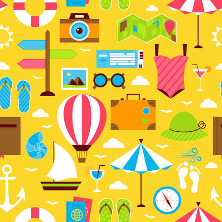voyage: Yellow Summer Travel Voyage Seamless Pattern. Vacation Holiday Flat Design Vector Illustration. Tile Background. Beach Resort Colorful Objects.