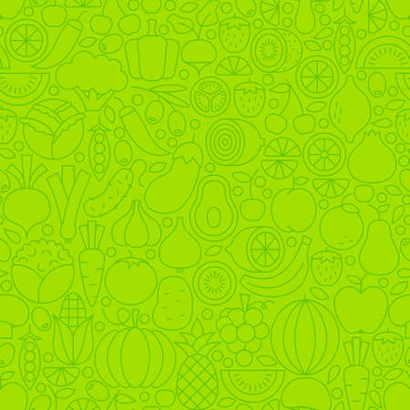 fresh food: Thin Line Green Eat Healthy Vegetarian Seamless Pattern. Vector Website Design and Tile Background in Trendy Modern Outline Style. Fresh Fruit and Vegetable Vegan Food.