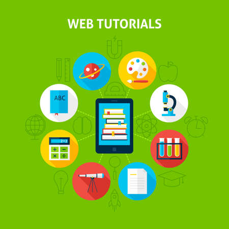 inforgaphic: Web Tutorials Infographic Concept. Vector Illustration of Distance Education Infographics Circle with Tablet and Circle Icons. Flat Design and Outline.