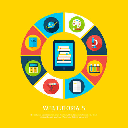 inforgaphic: Web Tutorials Flat Infographic Concept. Vector Illustration of Distance Education Infographics Circle with Tablet and Circle Icons.