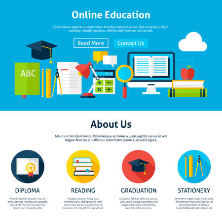 Online Education Flat Web Design Template. Vector Illustration for Website banner and landing page. Header with Web Tutorials Icons Modern Design.
