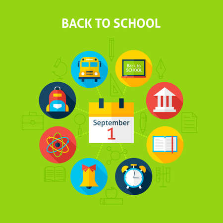 packsack: Back to School Infographic Concept. Vector Illustration of Education and Science Infographics Circle with Calendar and Circle Icons. Flat Design and Outline.