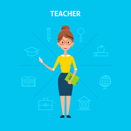 line work: Teacher Woman. Flat Style Vector Illustration of People Character with Outline Icons. Back to School Education Concept. Illustration
