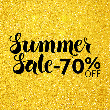 70: Summer Sale 70 Off Vector Lettering over Gold Glitter. Vector Illustration of Golden Calligraphy Text.