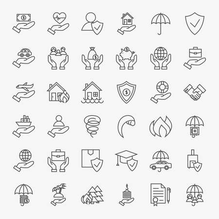 business life line: Insurance Line Art Design Icons Big Set. Vector Collection of Modern Thin Outline Business Life Insurance Services Symbols.