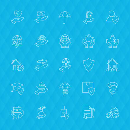 family policy: Insurance Services Line Icons Set over Blue Polygonal Background. Vector Collection of Thin Outline Business Life Insurance Items.