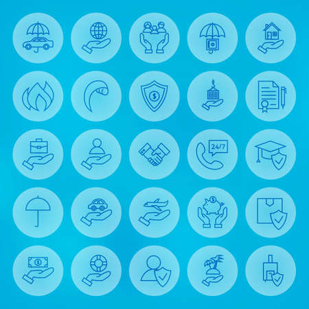 family policy: Line Circle Business Insurance Symbols Set. Vector Collection of Thin Outline Insurance Services Circle Icons over Blue Blurred Background. Illustration