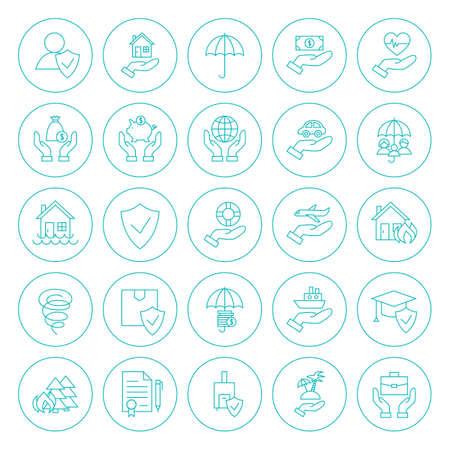 라인 원 보험 아이콘을 설정합니다. 벡터 얇은 개요 라운드 보험 서비스 개체 화이트 이상 격리의 컬렉션입니다.