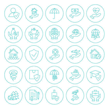 Line Circle Insurance Icons Set. Vector Collection of Thin Outline Round Insurance Services Objects Isolated over White.