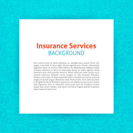 art piece: Template over Insurance Services Line Art Background. Vector Illustration of Piece of Paper over Business Insurance Outline Modern Design.