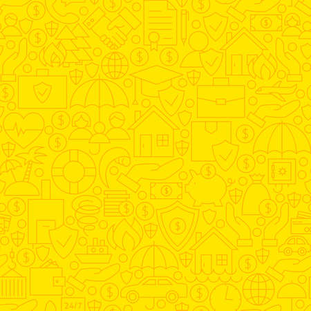 family policy: Thin Yellow Insurance Line Seamless Pattern. Vector Website Design and Tile Background in Modern Outline Style. Business Insurance Services.