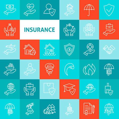 벡터 라인 아트 보험 아이콘을 설정합니다. 다채로운 개요 위에 얇은 개요 비즈니스 생명 보험 항목.