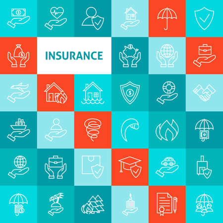 Vector Line Art Insurance Icons Set. Dunne Outline Zaken Life Insurance Artikelen over kleurrijke pleinen.