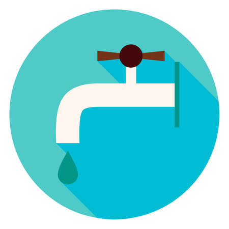 plumb: Water Faucet Circle Icon. Flat Design Vector Illustration with Long Shadow. Household Tool Symbol. Illustration