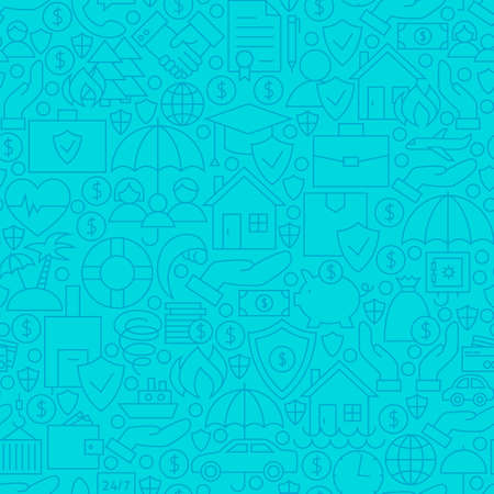 family policy: Thin Line Blue Insurance Seamless Pattern. Vector Website Design and Tile Background in Trendy Modern Outline Style. Business Insurance Services.