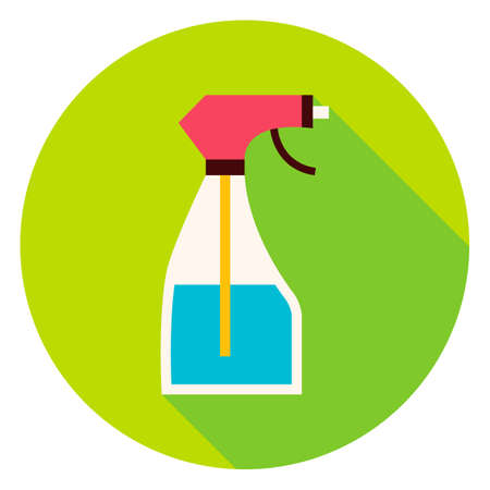 water spray: Water Spray Tool Circle Icon. Flat Design Vector Illustration with Long Shadow. Spray Bottle Gardening Symbol.