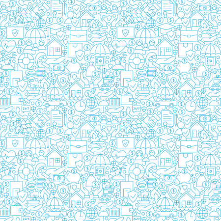 family policy: Thin Line Insurance White Seamless Pattern. Vector Website Design and Tile Background in Modern Outline Style. Business Insurance Services.
