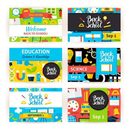 Back to School Greeting Invitation Set. Flat Design Vector Illustration of Brand Identity for Education Science Promotion. Vetores