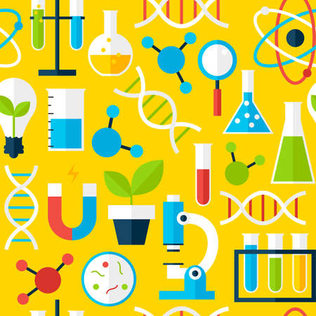 science education: Yellow Seamless Pattern Science Education. Flat Style Vector Tile Background. School University and College. Stock Photo