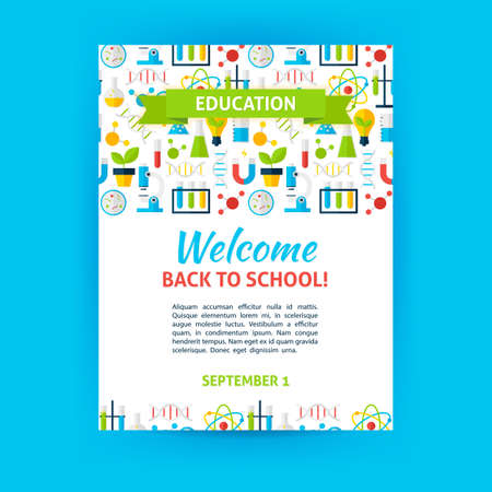Welcome Back To School Poster Template. Flat Design Vector ...