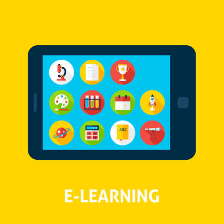 inforgaphic: Electronic Learning Tablet Concept. Flat Design Vector Illustration of Online Education Concept.