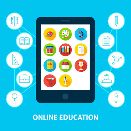 inforgaphic: Online Education Tablet. Flat Design Vector Illustration of Electronic Learning Concept.