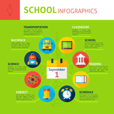 packsack: School Concept Infographics. Flat Design Vector Illustration of Education and Science Concept. Illustration