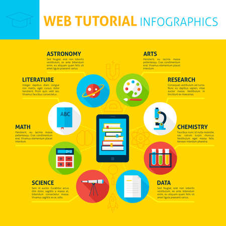 pallete: Web Tutorial Infographics. Flat Design Vector Illustration of Online Education Concept.
