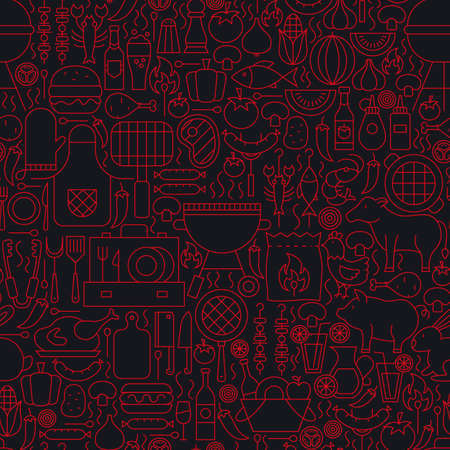 Barbecue Grill Line Seamless Pattern. Vector Illustration of Outline Tile Background. BBQ Party.