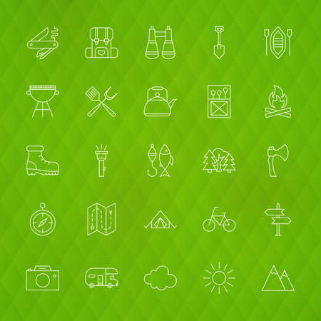 family hiking: Family Camping Line Icons. Vector Illustration of Hiking Symbols over Polygonal Background.
