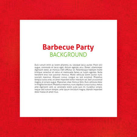 Barbecue Party Template. Vector Illustration of Paper over Grill Outline Design. Illustration