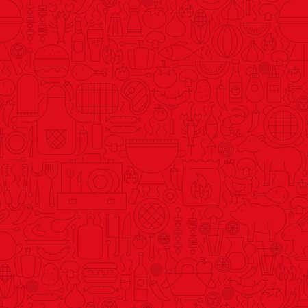 Red Grill Menu Line Tile Pattern. Vector Illustration of Outline Tile Background. Barbecue Party. Illustration