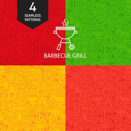 Thin Line Barbecue Pattern Set. Four Vector Website Design Seamless Backgrounds. Grill Menu.