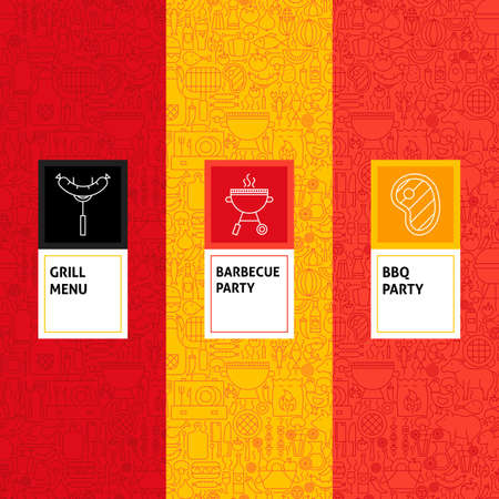 Line Barbecue Patterns Set. Vector Illustration of Design. Template for Packaging with Labels.