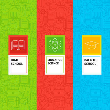 Line School Education Patterns Set. Vector Illustration of Design. Template for Packaging with Labels.