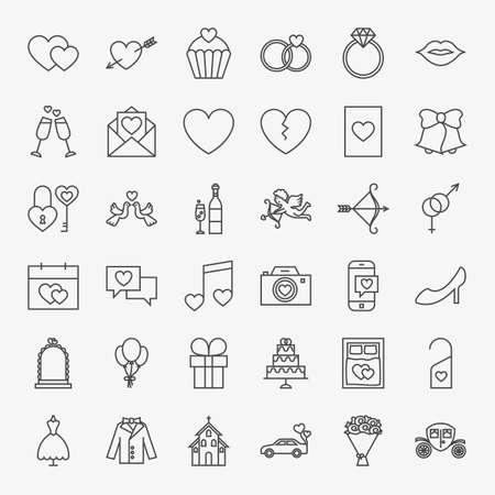 Wedding Line Icons Set