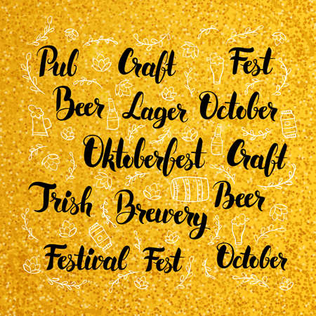 irish beer label: Oktoberfest Lettering over Gold Design. Vector Illustration of Brewery Calligraphy Concepts.