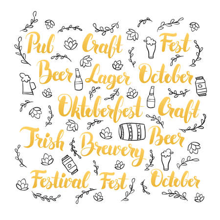 irish beer label: Oktoberfest Lettering Set. Vector Illustration of Brewery Calligraphy with Hand Drawn Beer Pub Sketches.