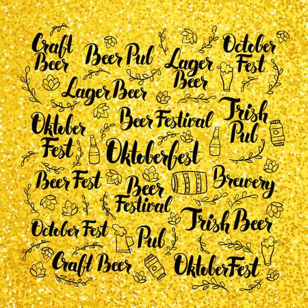 beer fest: October Beer Fest Gold Lettering Design. Vector Illustration of Hand Drawn Oktoberfest Calligraphy.