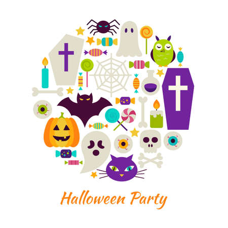 Halloween Party Objects over White. Vector Illustration of Trick or Treat isolated Items Set.
